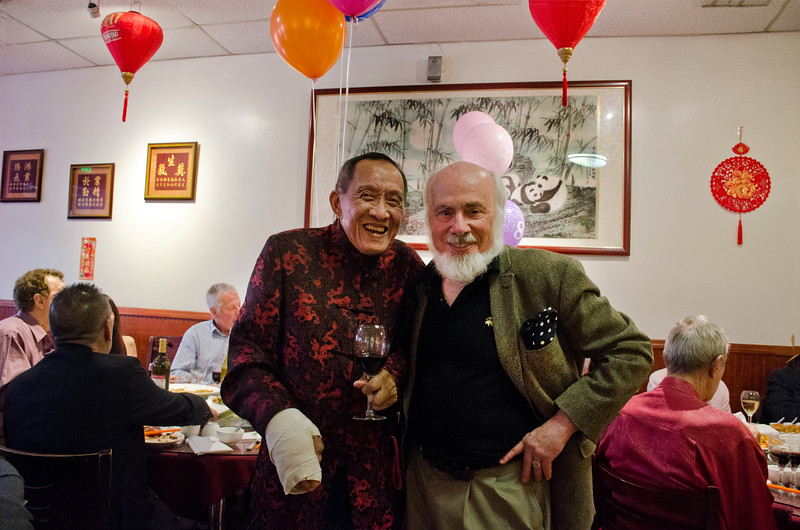 Stephen Somerstein, photographer, right, and Henry Him at his 80th birthday party at Dong Bei Mama Restaurant