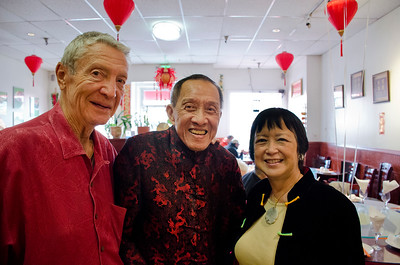 Ron Hildebrand and wife Syndi Seid with Henry in center at Henry Him's 80th birthday party at Dong Bei Mama Restaurant
