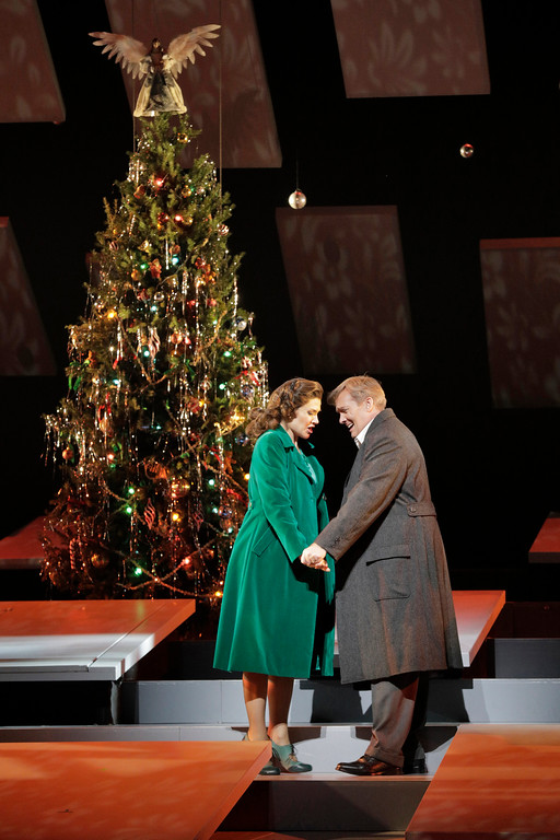 "Andriana Chuchman as Mary Hatch and William Burden as George Bailey in Jake Heggie and Gene Scheer's ""It's a Wonderful Life."""