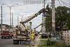 Puerto Rico - San Juan : daños por tormenta causados por el huracán María en Puerto Rico 2017 / Workers repair damaged power lines 6 months after hurricane Maria / Puerto Rico : Sturmschäden verursacht durch den Hurrikan Maria in Puerto Rico © Rob Zambrano/LATINPHOTO.org