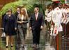 CUBA - LA HABANA - Lis Cuesta ( i ) , esposa del nuevo presidente cubano camina junto a la primera dama de venezuela Cilia Flores y el Canciller cubano Bruno Rodriguez ( d ) , en La Habana - Durante la ceremonia de recibimiento oficial al presidente de venezuela / Lis Cuesta ( L ) , wife of the new Cuban President with the First Lady of Venezuela , Cilia Flores and the Cuban Foreign Minister Bruno Rodriguez ( R ) in Havana / Kuba : Lis Cuesta ( L )  , Ehefrau des neuen kubanischen Präsidenten mit der First Lady von Venezuela , Cilia Flores und dem kubanischen Aussenminister Bruno Rodriguez ( R ) © Ernesto Mastrascusa/LATINPHOTO.org