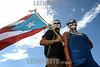 Puerto Rico : pareja de jóvenes en una manifestación de protesta en San Juan / Young couple at a demostration protest in San Juan / Puerto Rico : Ein Paar demonstiert mit der Nationalflagge und geschminkt in San Juan © Rob Zambrano/LATINPHOTO.org