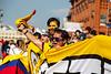 Hinchas colombianos en la Plaza Roja de Moscu, Rusia