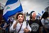 Nicaragua - Managua : 21/07/2018 Marcha solo el pueblo salva al pueblo y Masaya florecera en memoria de los caidos y las personas que estan encarceladas injustamente - La manifestacion culmino en la rotonda jean Paul Genie con oraciones y cantos a los muertos del 19 de abril / march in Managua on 21.07.2018 - Opposition calls for resignation of Ortega government / Nikaragua : Gedenkmarsch am 21.07.2018 in Managua - Oppositionelle fordern den Rücktritt der Regierung Ortega - Mit Folklore - Masken vermummte Demonstranten © Oscar Enrique Navarrete Aguilar/LATINPHOTO.org