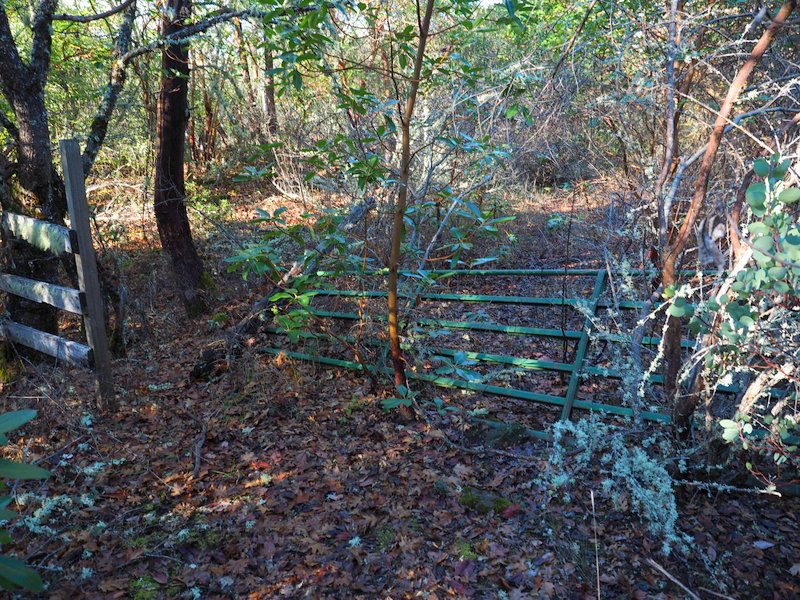 An old gate across the old road, Lower Table Rock, Oregon