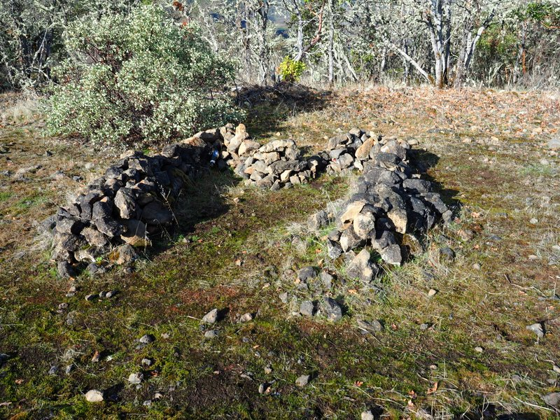 A circle of stones on Lower Table Rock, Oregon