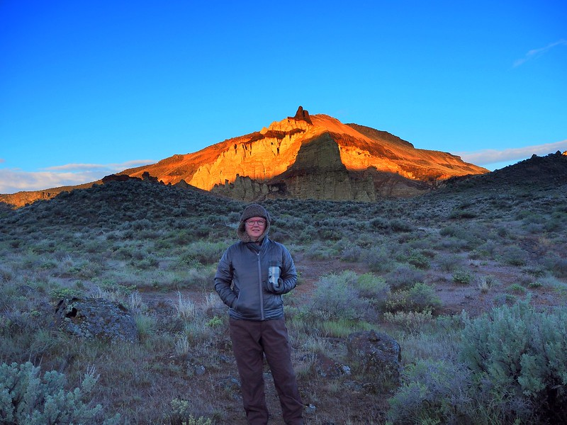 Morning coffee below Pruitt's Castle on the Lower Owyhee River