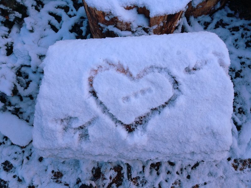 A heart drawn in the snow, Medford, Oregon