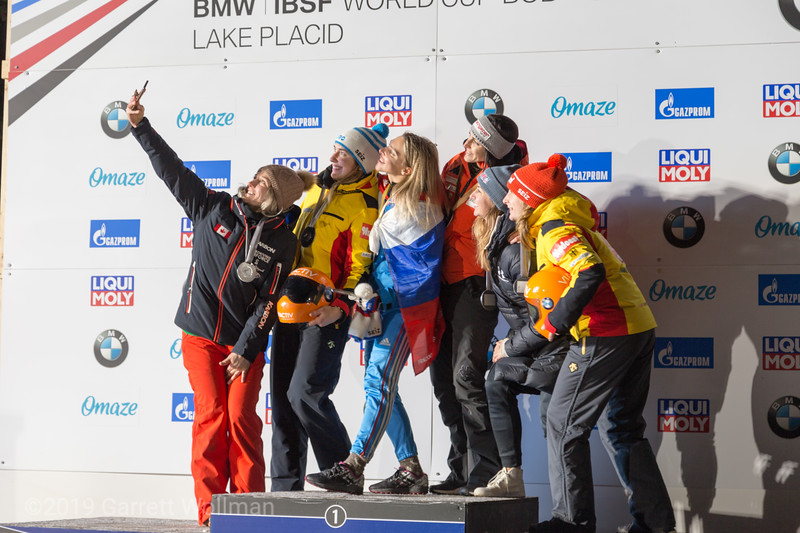 Women's medal podium selfies