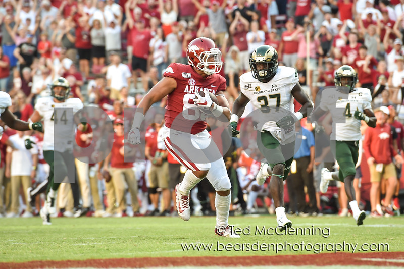 Colorado State @Arkansas football game. Game was played in Fayetteville Arkansas.