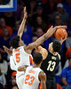 Florida Gators forward Omar Payne (5) blocka the shot by Vanderbilt Commodores forward Matthew Moyer (13) as the Florida Gators mens basketball team hosted the Vanderbilt Commodores at Exacteh Arena in Gainesville, Florida.  February 15th, 2020. Gator Country Photo by David Bowie.