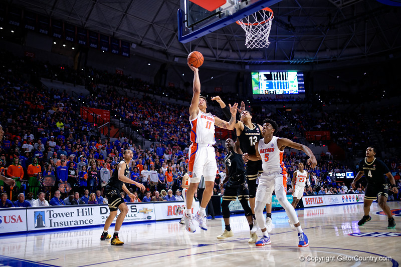 Florida Gators forward Keyontae Johnson (11) as the Florida Gators mens basketball team hosted the Vanderbilt Commodores at Exacteh Arena in Gainesville, Florida.  February 15th, 2020. Gator Country Photo by David Bowie.