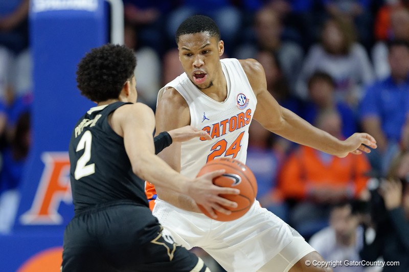 Florida Gators forward Kerry Blackshear Jr. (24) as the Florida Gators mens basketball team hosted the Vanderbilt Commodores at Exacteh Arena in Gainesville, Florida.  February 15th, 2020. Gator Country Photo by David Bowie.