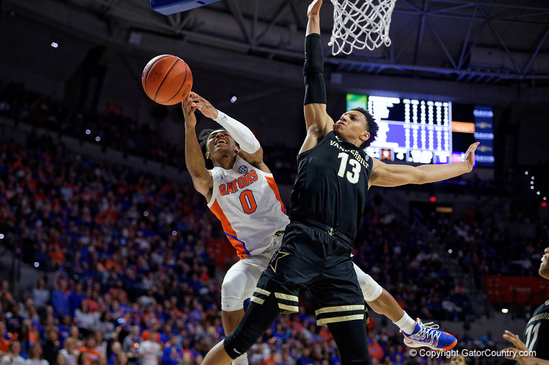 Florida Gators guard Ques Glover (0) as the Florida Gators mens basketball team hosted the Vanderbilt Commodores at Exacteh Arena in Gainesville, Florida.  February 15th, 2020. Gator Country Photo by David Bowie.