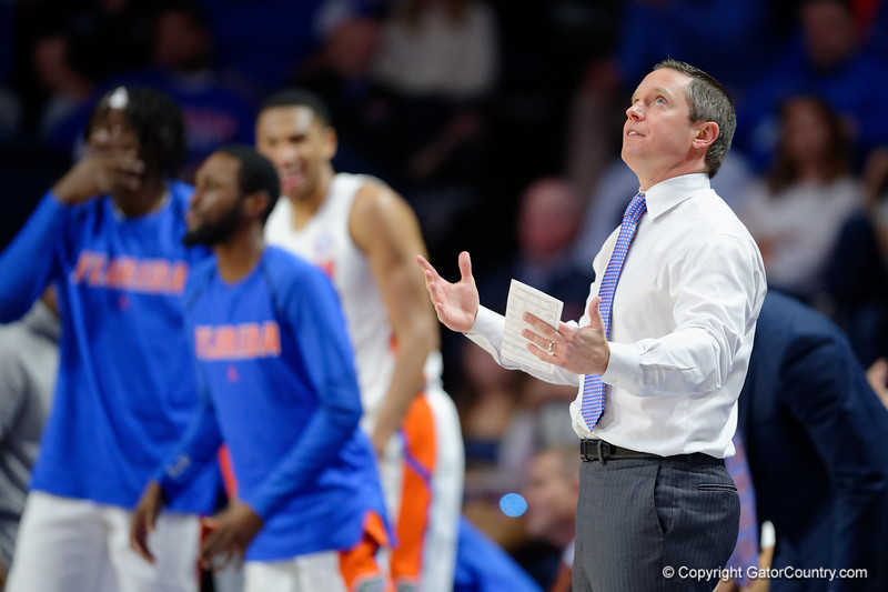 Florida Gators head coach Mike White as the Florida Gators mens basketball team hosted the Vanderbilt Commodores at Exacteh Arena in Gainesville, Florida.  February 15th, 2020. Gator Country Photo by David Bowie.