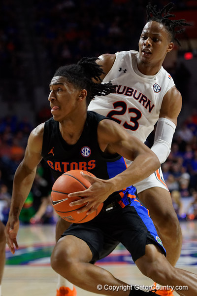 Florida Gators guard Ques Glover (0) as the Florida Gators mens basketball team defeats the #4 Auburn Tigers 69-47 at Exacteh Arena in Gainesville, Florida.  January 18th, 2020. Gator Country Photo by David Bowie.