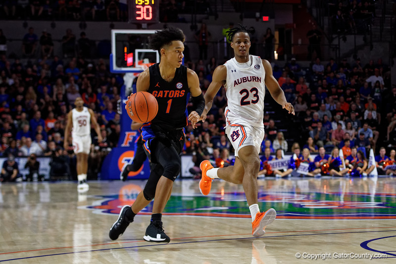 Florida Gators guard Tre Mann (1) as the Florida Gators mens basketball team defeats the #4 Auburn Tigers 69-47 at Exacteh Arena in Gainesville, Florida.  January 18th, 2020. Gator Country Photo by David Bowie.