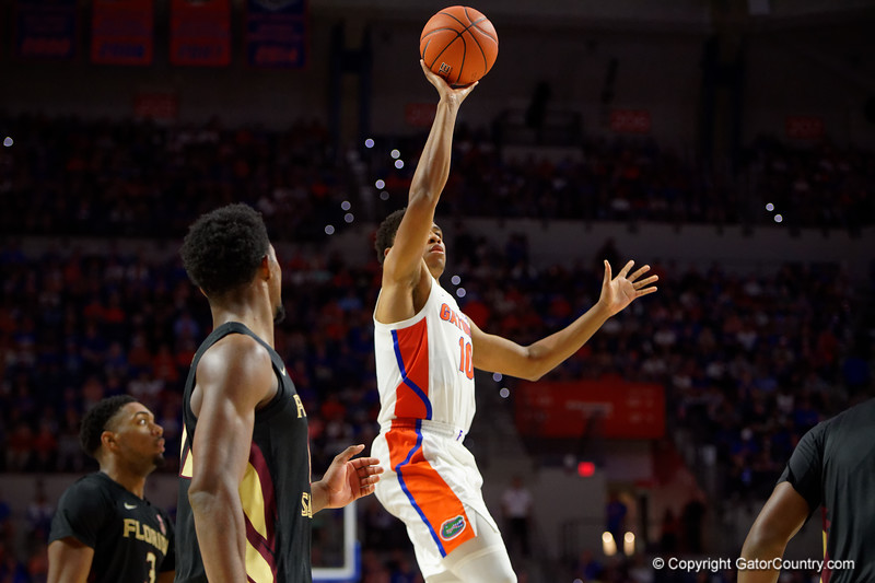 Florida Gators guard Noah Locke (10) as the #6 Florida Gators mens basketball team hosted the Florida State Seminoles at Exacteh Arena in Gainesville, Florida.  November 10th, 2019. Gator Country Photo by David Bowie.