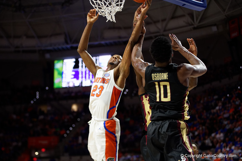 Florida Gators guard Scottie Lewis (23) as the #6 Florida Gators mens basketball team hosted the Florida State Seminoles at Exacteh Arena in Gainesville, Florida.  November 10th, 2019. Gator Country Photo by David Bowie.