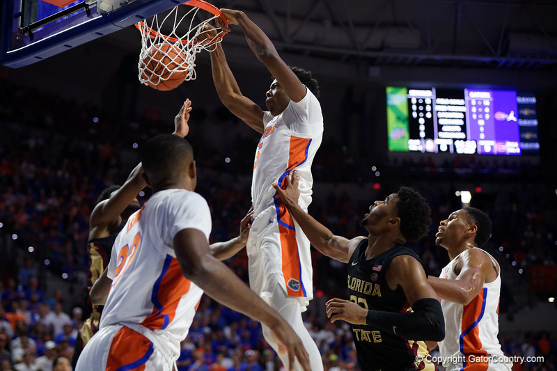 Florida Gators forward Omar Payne (5) as the #6 Florida Gators mens basketball team hosted the Florida State Seminoles at Exacteh Arena in Gainesville, Florida.  November 10th, 2019. Gator Country Photo by David Bowie.