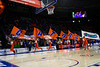 The Florida Gators Cheerleaders run onto the court as the #6 Florida Gators mens basketball team hosted the Florida State Seminoles at Exacteh Arena in Gainesville, Florida.  November 10th, 2019. Gator Country Photo by David Bowie.