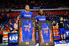 Florida Gators forward Kerry Blackshear Jr. (24) and Florida Gators guard Christopher Sutherland (34) during senior day ceremonies as the Florida Gators mens basketball team hosted the Kentucky Wildcats at Exacteh Arena in Gainesville, Florida.  March 7th, 2020. Gator Country Photo by David Bowie.