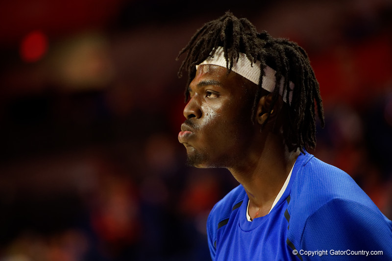 Florida Gators center Jason Jitoboh (33) during pregame as The Florida Gators mens basketball team hosted the Kentucky Wildcats at Exacteh Arena in Gainesville, Florida.  March 7th, 2020. Gator Country Photo by David Bowie.