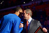 Florida Gators head coach Mike White greets Florida Gators forward Kerry Blackshear Jr. (24) during senior day ceremonies as the Florida Gators mens basketball team hosted the Kentucky Wildcats at Exacteh Arena in Gainesville, Florida.  March 7th, 2020. Gator Country Photo by David Bowie.