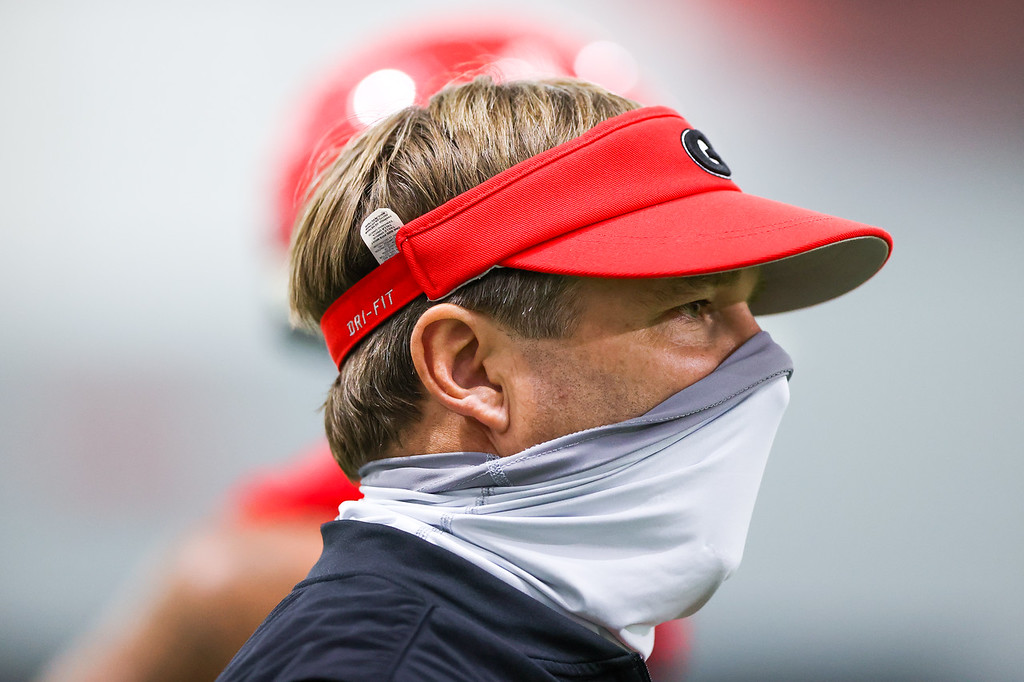 Georgia head coach Kirby Smart during the Bulldogs' practice in Athens, Ga., on Mon., Aug. 17, 2020. (Photo by Chamberlain Smith)