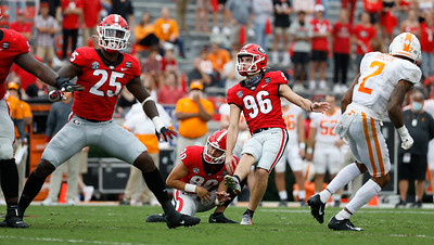 Georgia kicker Jack Podlesny (96) during the Bulldogs' game with Tennessee in Athens, Ga., on Saturday, Oct. 10, 2020.. (Photo by Andrew Davis Tucker)
