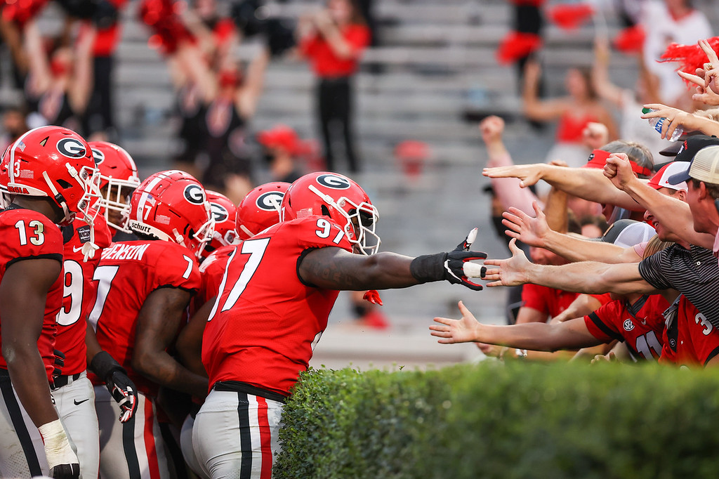 Georgia defensive lineman Warren Brinson (97) during the Bulldogs' game against Tennessee on Dooley Field at Sanford Stadium in Athens, Ga., on Saturday, Oct., 10, 2020. (Photo by Chamberlain Smith)