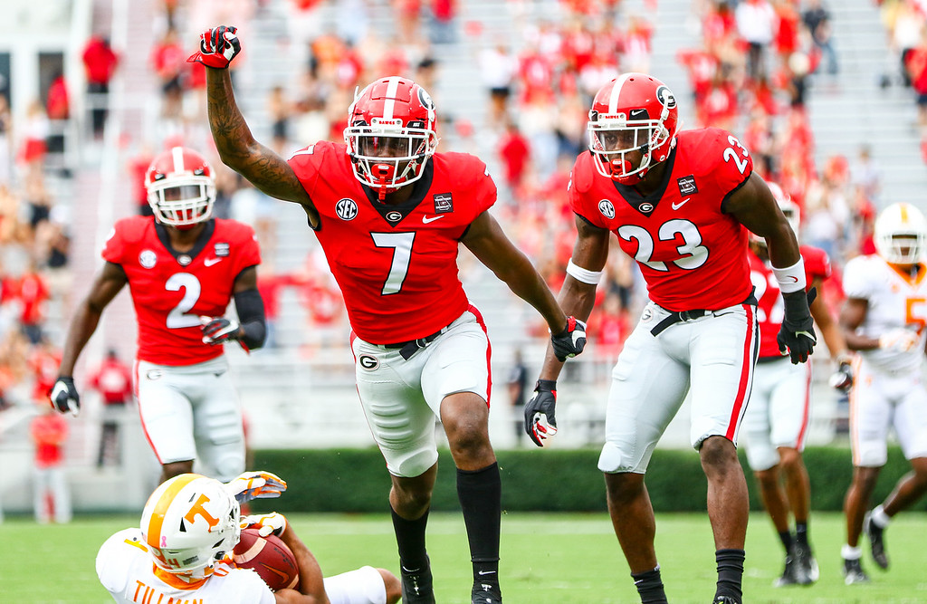 Georgia defensive back Tyrique Stevenson (7) during the Bulldogs' game against Tennessee on Dooley Field at Sanford Stadium in Athens, Ga., on Saturday, Oct., 10, 2020. (Photo by Tony Walsh)