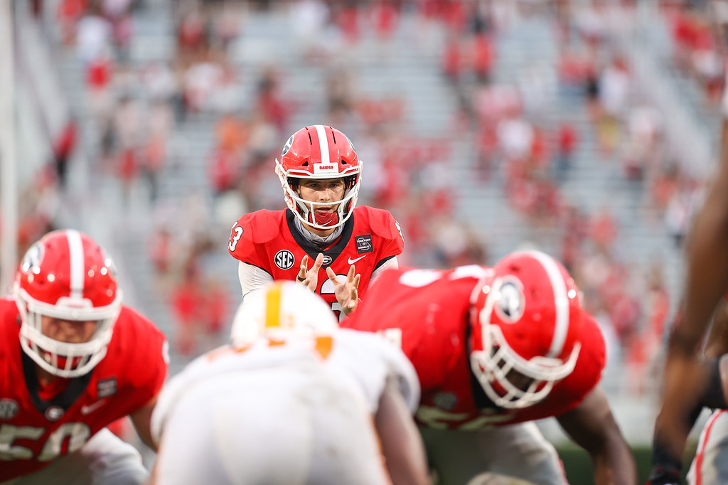 Georgia quarterback Stetson Bennett (13) during the Bulldogs' game against Tennessee on Dooley Field at Sanford Stadium in Athens, Ga., on Saturday, Oct., 10, 2020. (Photo by Chamberlain Smith)