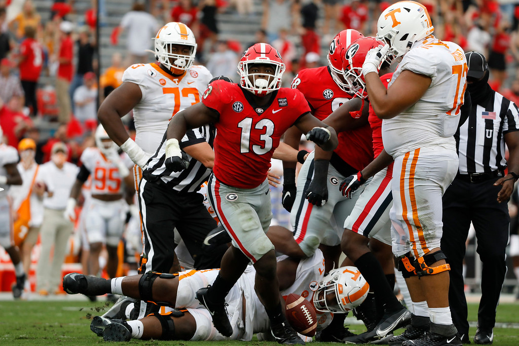 Georgia outside linebacker Azeez Ojulari (13) during the Bulldogs' game with Tennessee in Athens, Ga., on Saturday, Oct. 10, 2020.. (Photo by Andrew Davis Tucker)