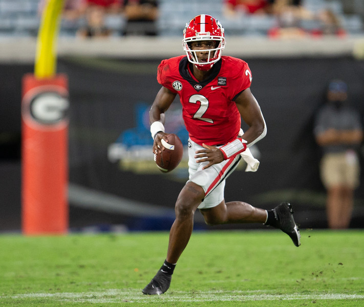 Georgia quarterback D'Wan Mathis (2) during the Bulldogs' game with Florida in Jacksonville, Fla., on Saturday, Nov. 7, 2020. (Photo by Matt Stamey)