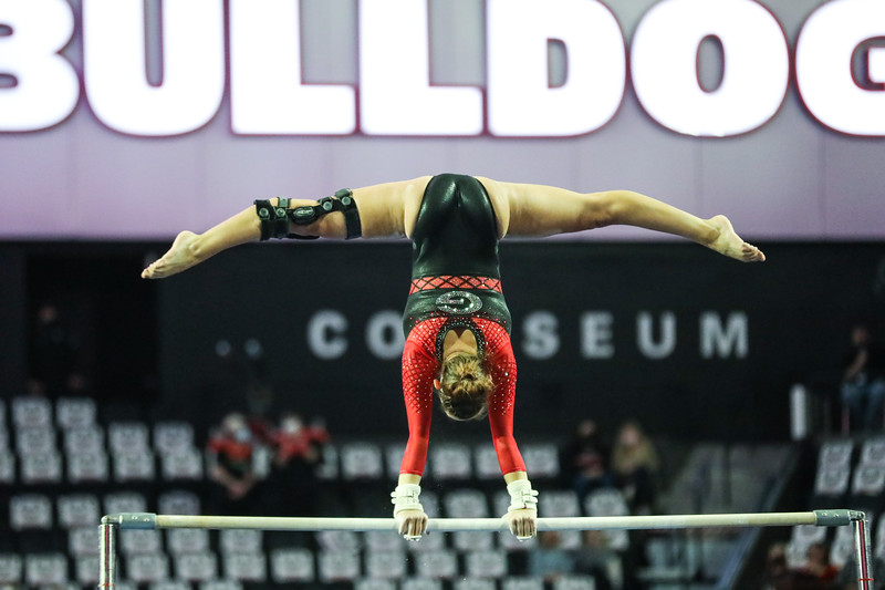 Georgia gymnast Emily Schild during the gymnastics home opener against Missouri at Stegeman Coliseum in Athens, Ga., on Friday, January 8, 2021. (Photo by Chamberlain Smith)