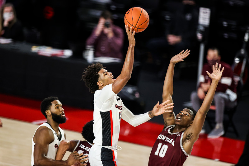 Georgia basketball player Justin Kier (5) during a game against Montana at Stegeman Coliseum in Athens, Ga., on Tuesday, Dec. 8, 2020. (Photo by Tony Walsh)