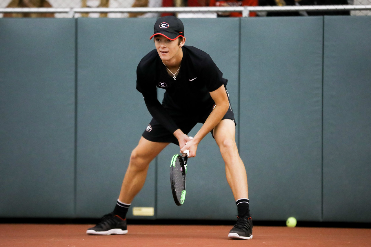 Georgia tennis player Tyler Zink during a match against Kennesaw State in the Lindsey Hopkins Indoor Center in Athens, Ga., on Mon., Jan. 20, 2020. (Photo by Tony Walsh)