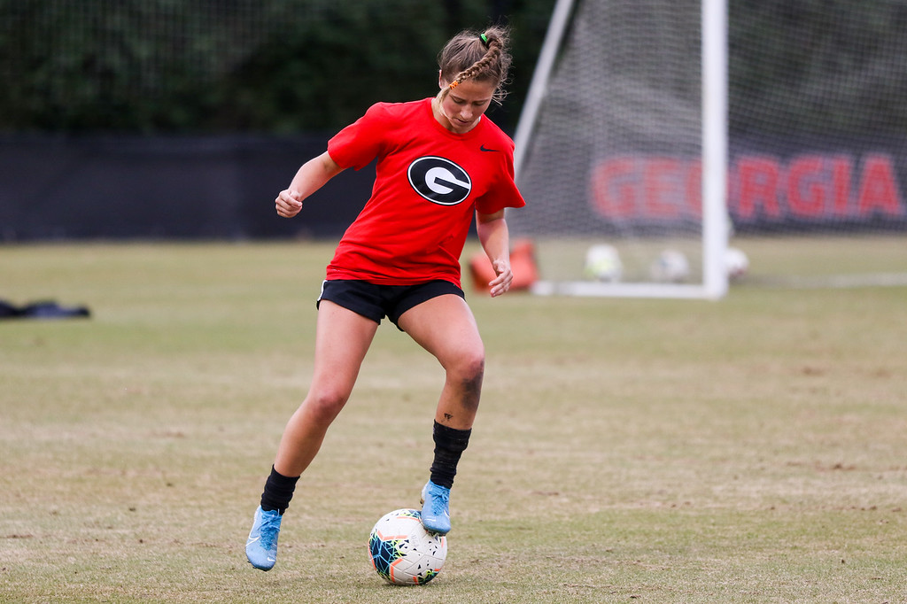 During practice at the Turner Soccer Complex in Athens, Ga., on Wed., Feb. 19, 2020. (Photo by Chamberlain Smith)