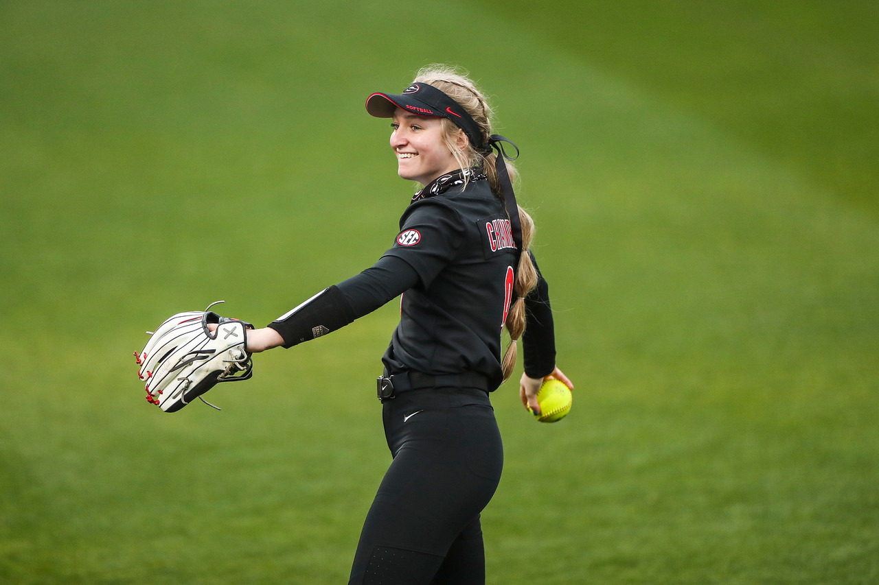 Georgia outfielder Sydney Chambley (9) during a game against South Alabama at Jack Turner Softball Stadium in Athens, Ga., on Friday, Feb. 12, 2021. (Photo by Tony Walsh)