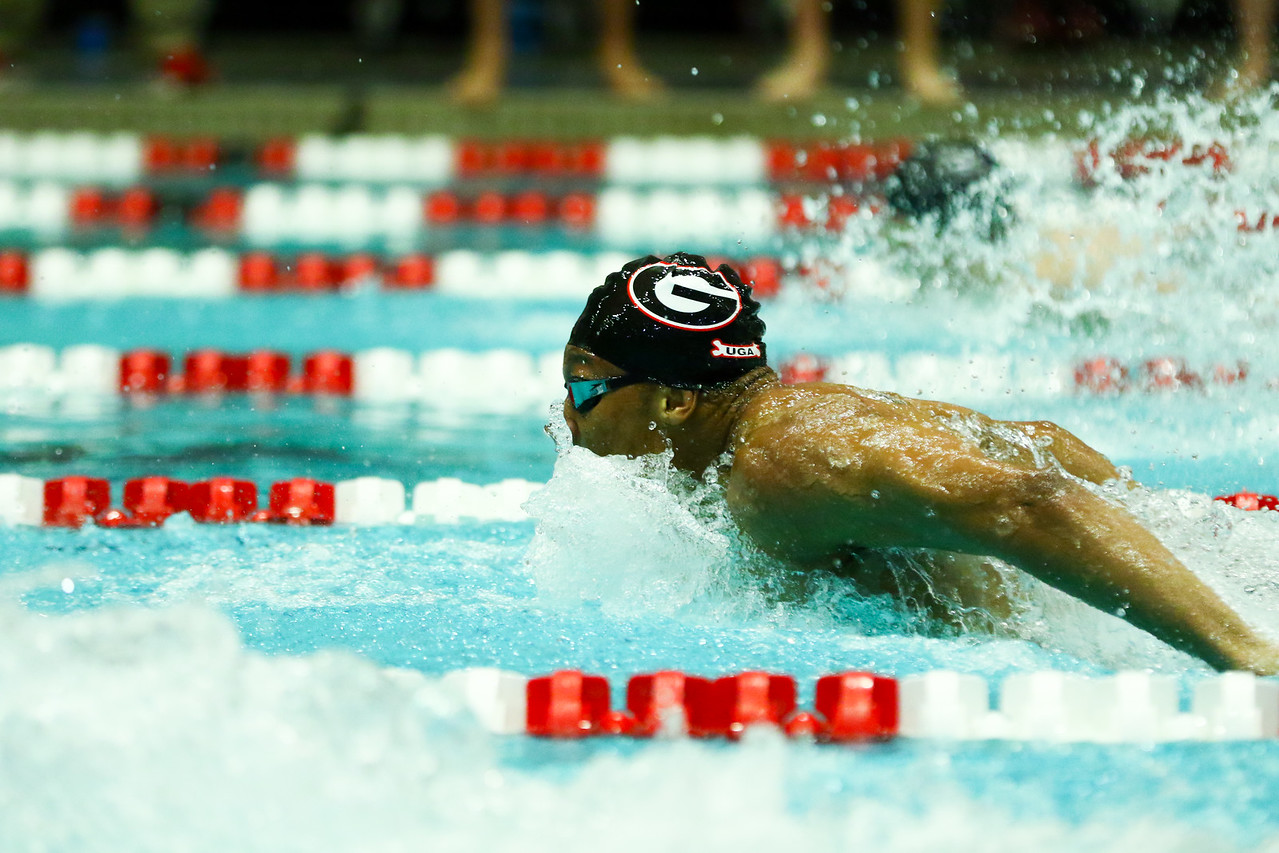 Georgia swimmer Camden Murphy during a meet against Tennessee in the Gabrielsen Natatorium in Athens, Ga., on Sat., Jan. 25, 2020. (Photo by Tony Walsh)