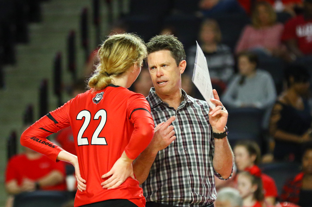 Georgia head coach Tom Black and Georgia setter Meghan Donovan (22) during a match against Alabama in Stegeman Coliseum in Athens, Ga., on Sunday, Oct. 7, 2019. (Photo by Tony Walsh)