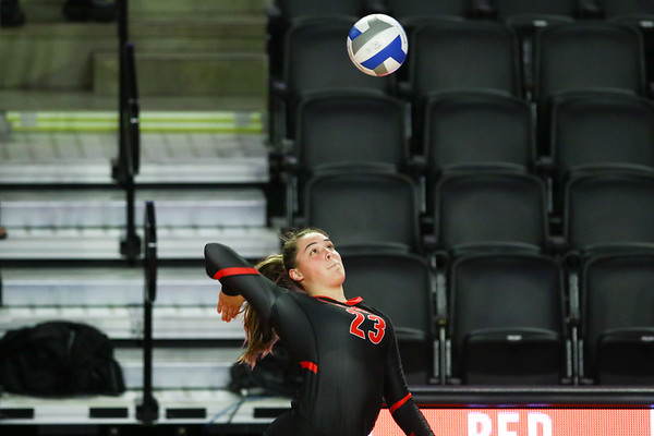 Georgia outside hitter Kacie Evans (23) prepares to hit the ball during the Red & Black Scrimmage in Stegeman Coliseum in Athens, Ga., on Saturday, Aug. 17, 2019. (Photo by Tony Walsh)
