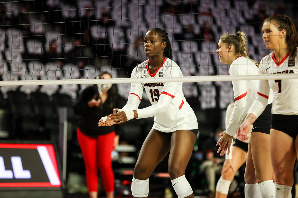 Georgia middle blocker Phoebe Awoleye (19) during a volleyball match between the University of Georgia and the University of South Carolina at Stegeman Coliseum in Athens, Ga., on Saturday, October 17, 2020. (Photo by Chamberlain Smith)