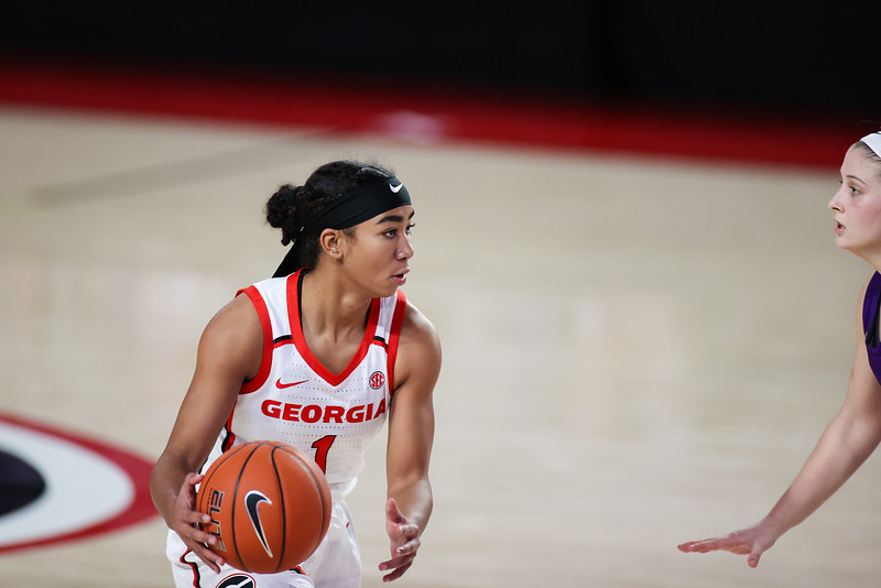 Georgia guard Chloe Chapman (1) during a game against Furman at Stegeman Coliseum in Athens, Ga., on Sun., Dec. 20, 2020. (Photo by Chamberlain Smith)