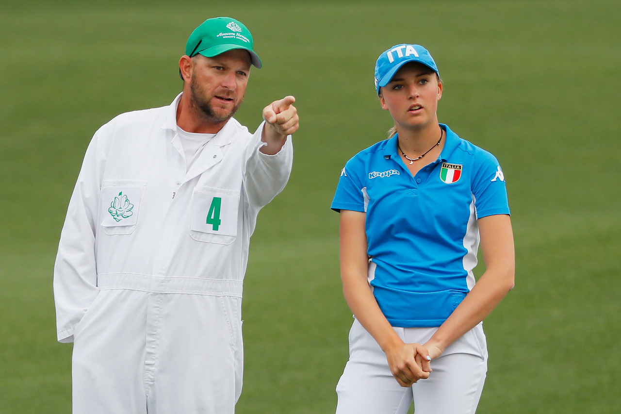 Caterina Don of Italy talks with her caddie on the second green during the final round of the Augusta National Women's Amateur at Augusta National Golf Club on April 06, 2019 in Augusta, Georgia. (Photo by Kevin C. Cox/Getty Images)
