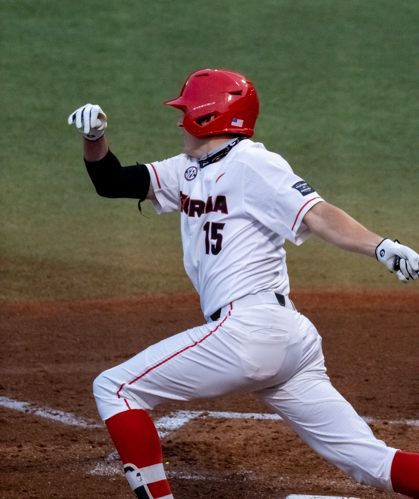 Georgia infielder Cole Tate (15) at a game against Kentucky on April 17, 2021 at Foley Field in Athens, GA (photo by Jack Casey)