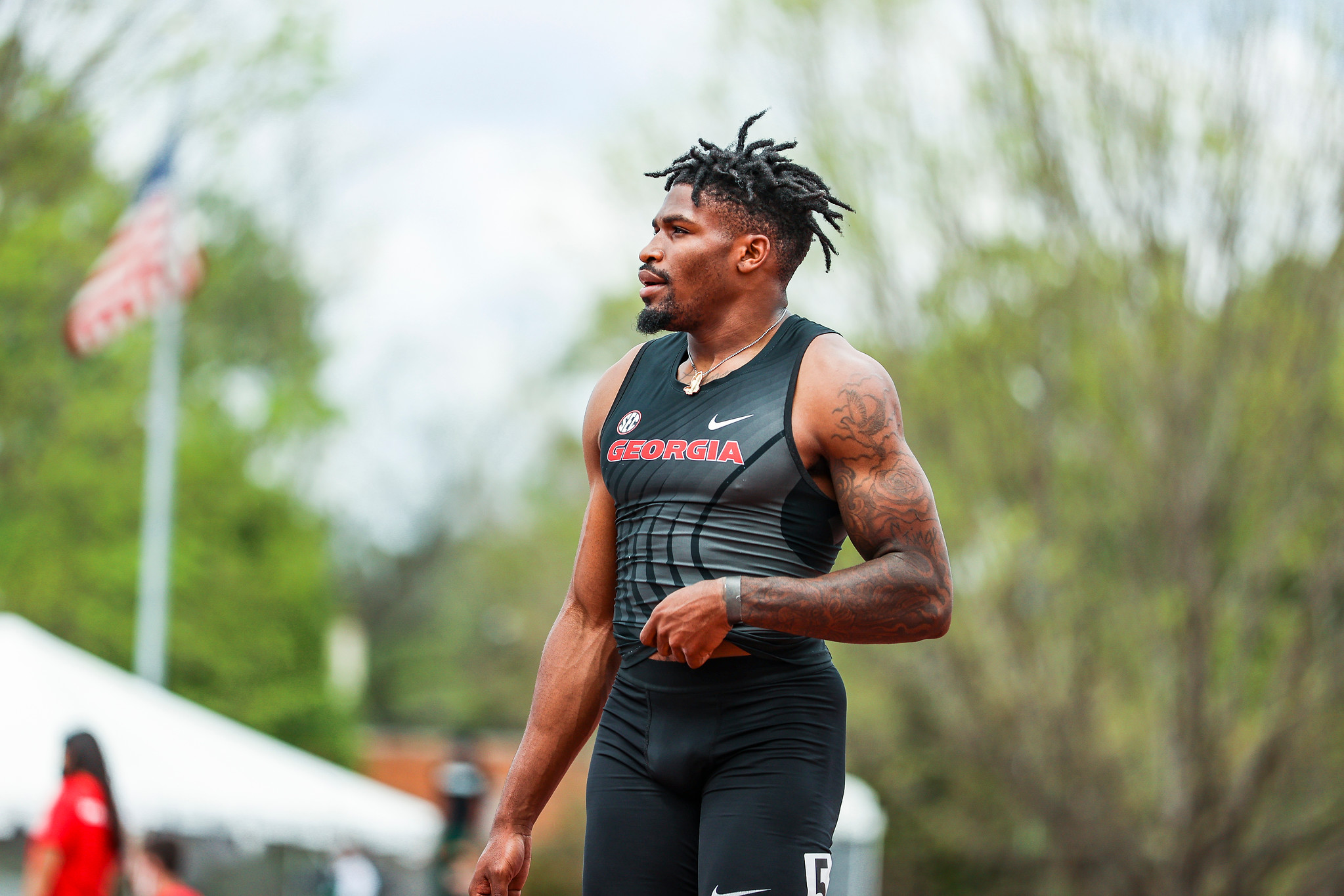 Georgia's Elija Godwin during the Spec Towns Invitational at the Spec Towns Track in Athens, Ga., on Friday, April 9, 2021. (Photo by Tony Walsh)
