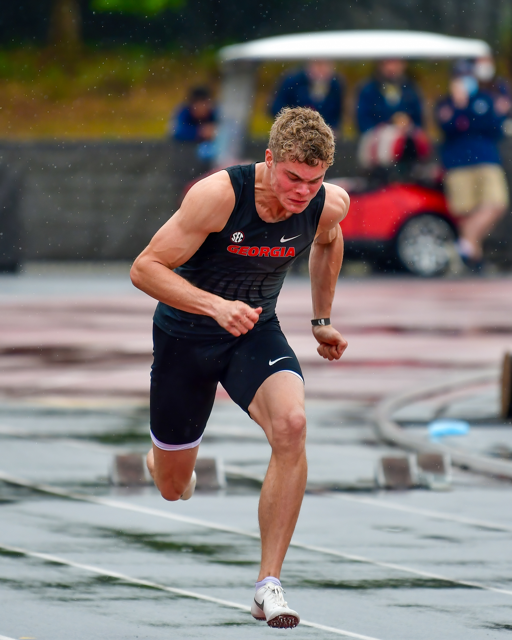 Georgia's Matthew Boling during the Spec Towns Invitational at the Spec Towns Track in Athens, Ga., on Saturday, April 10, 2021. (Photo by Rob Davis)