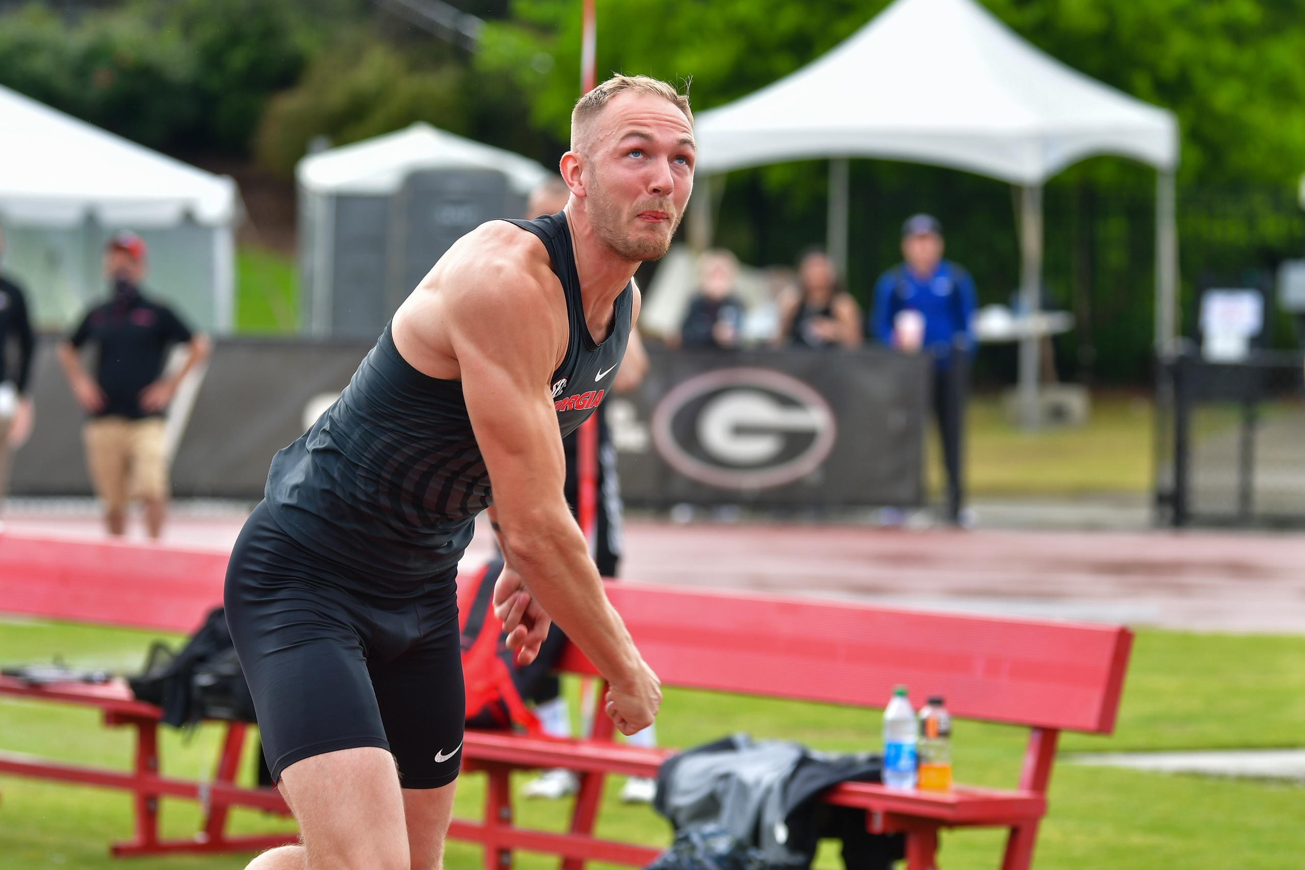 Georgia's Karel Tilga during the Spec Towns Invitational at the Spec Towns Track in Athens, Ga., on Saturday, April 10, 2021. (Photo by Rob Davis)